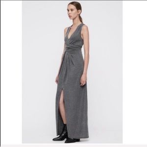 [allsaints] gray jersey knit stretch maxi dress